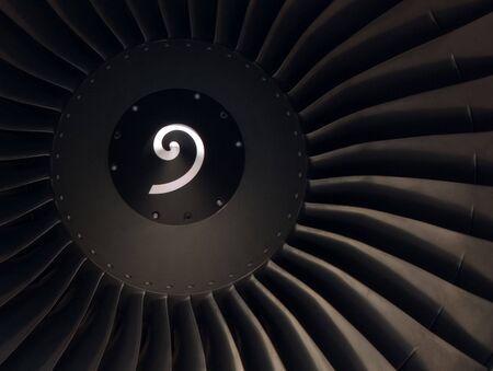 turbofan: Front View of a modern Turbofan Jet Engine Stock Photo
