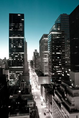 New York Street and Skyline at dawn finished in mono with blue sky.