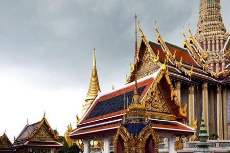 Thai Architecture at the Temple of the Emerald Buddha, Bangkok, Thailand. Stock Photo