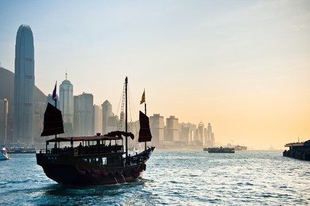 Traditional Chinese Boat on Victoria Harbour, Hong Kong. Stock Photo