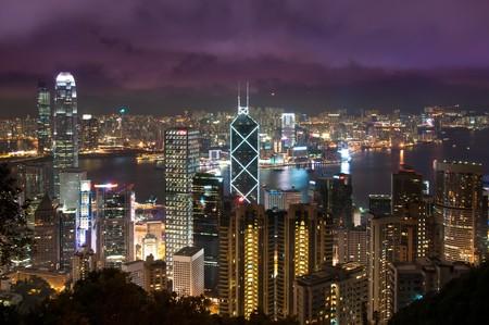 barker: Hong Kong skyline at night shot from Baker Road.