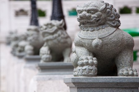 Lion Guardian stone sculptures at the Sik Sik Yuen Wong Tai Sin Temple in Kowloon, Hong Kong.