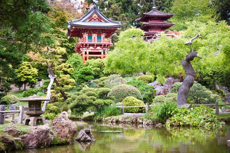japanese temple: The Japanese Tea Garden in the Golden Gate Park, San Francisco.