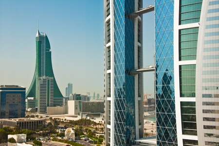 The World Trade Centre, Bahrain, in bright sunshine and blue sky. Stock Photo