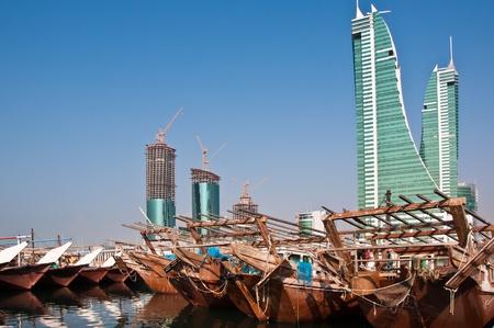 traditonal: Traditonal Arab Dhows moored at Manama, Bahrain.
