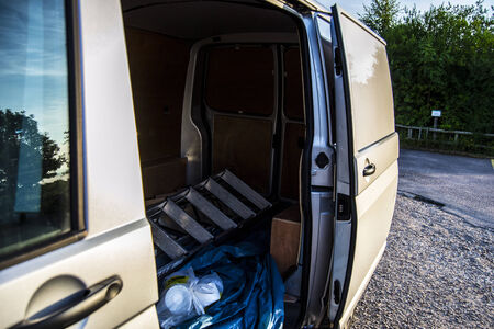 payload: Side Door open for easy loading, works van ready for action Stock Photo