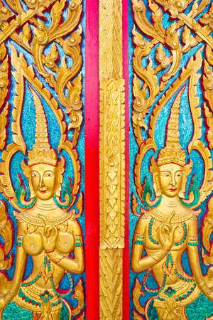 Architecture, thai painting in thai temple  photo