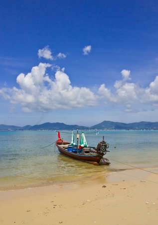 long tailed boat: long-tailed boat on the beach Stock Photo