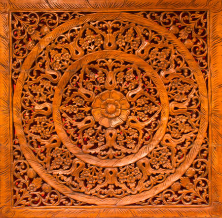 tooled: carved pattern on the wood Stock Photo