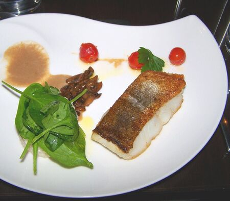 codfish: codfish served in a french gastronomic restaurant