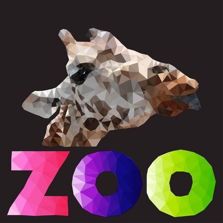 zoo: polygonal illustration of giraffe head with zoo sign
