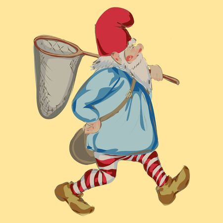 dwarves: illustration of dwarf with hoop net isolated