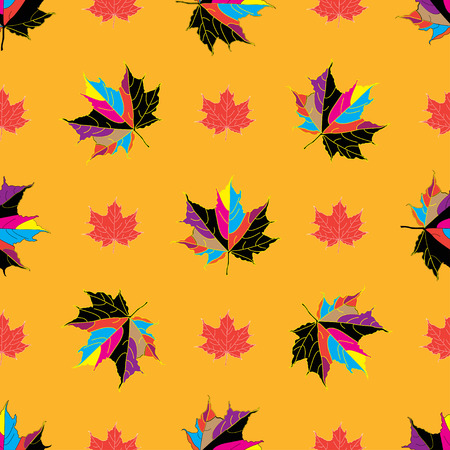 autumnal: Vector seamless background of autumnal maple leaves.