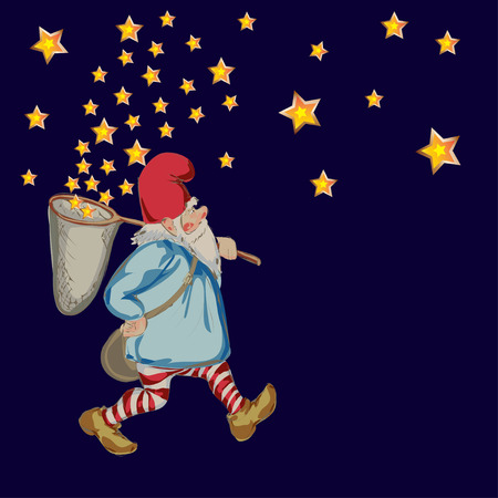dwarf: illustration of dwarf with hoop net and stars in nght