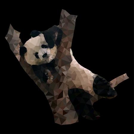 cute panda: polygonal vector illustration of panda lying on the tree isolated