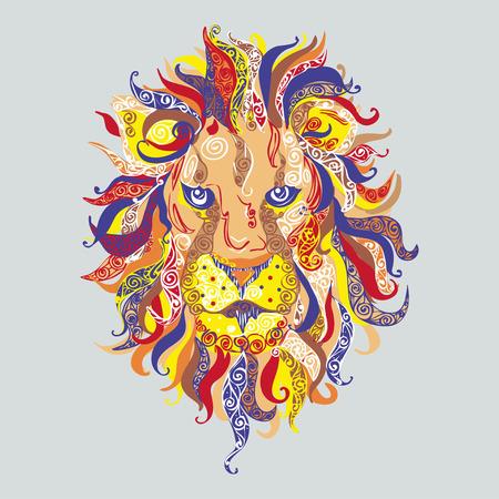 エスニック パターンで雄ライオン頭の色の肖像