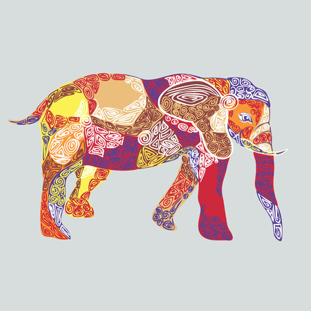 mendie: vector illustration of colored elephant decorated ethnic pattern Illustration