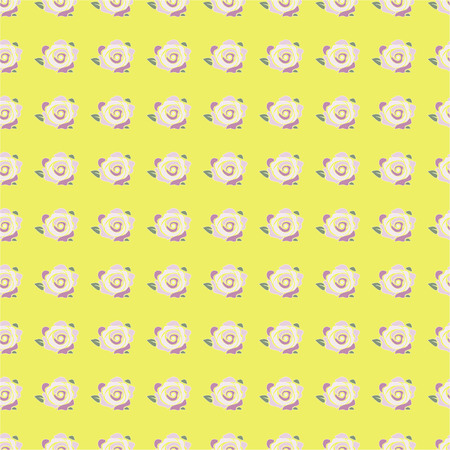 vector illustration of seamless pattern with pink rose flowers on the yellow backgroud Vectores