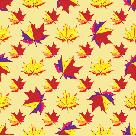 autumn leaves background: autumn seamless pattern with colored maple leaves on yellow background