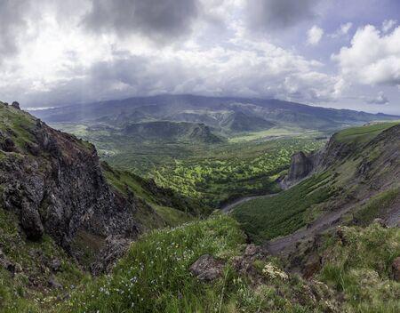 Valley of the volcano Plosky Tolbachik, Kamchatka Stock Photo