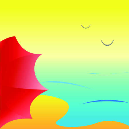 Sea beach with red umbrella, vector Vector