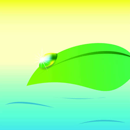 Shining water drop on a leaf on sea background, vector Vector