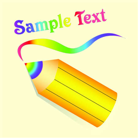 Yellow pencil with rainbow lead on beige background. Vector Vector