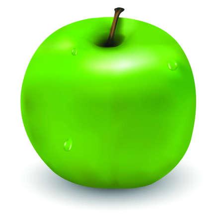 waterdrops: Tasty green apple with few waterdrops on it