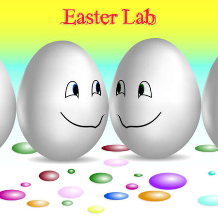 creative egg painting: Two cute easter eggs waiting for painting in easter lab Illustration