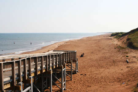 boardwalk on the red sands-beach,Prince Edward Island,Canada photo