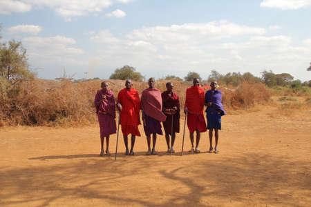 KENYA, AMBOSELI NATIONAL PARK - AUGUST 04, 2018: Maasai men group Editorial