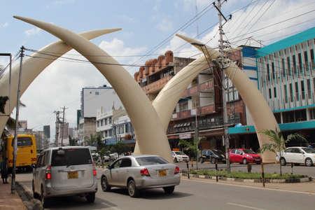 KENYA, MOMBASA - AUGUST 13, 2018; Tusks on Moi Avenue