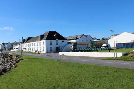 SCOTLAND, ISLE OF ISLAY, ARGYLL - OCTOBER 08, 2015: Building of the Bruichladdich Distillery