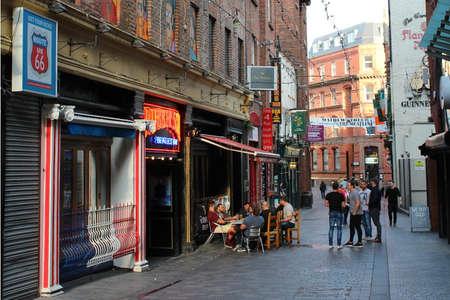 ENGLAND, LIVERPOOL, MATHEW STREET, SEPTEMBER 28, 2015; Scene on the Mathew Street in Liverpool where the Beatlemania never stops