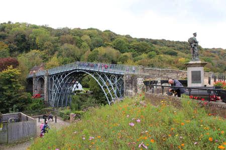 ENGLAND, WEST MIDLANDS, SHROPSHIRE, IRONBRIDGE, OCTOBER 14, 2015: Scene at the world's first cast iron bridge in Ironbridge