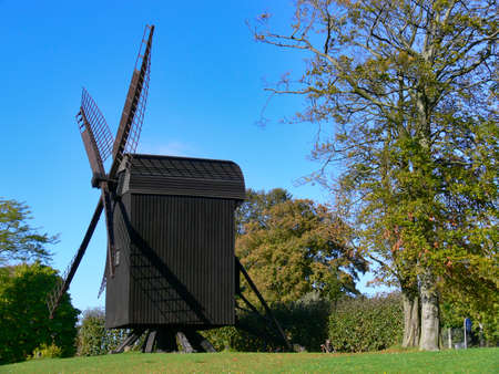 DENMARK, AARHUS - OCTOBER 08, 2007: The old wind mill in the open-air museum Den Gamle By
