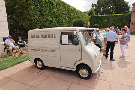 GERMANY, SCHWETZINGEN - SEPTEMBER 01, 2019: Goggomobil Transporter TS250 from year 1963 exhibited at the 15th Internat. Concours d'Elegance Automobile - CLASSIC GALA