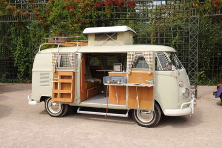 GERMANY, SCHWETZINGEN - SEPTEMBER 01, 2019: Volkswagen T1 Westfalia from year 1966 exhibited at the 15th Internat. Concours d'Elegance Automobile - CLASSIC GALA Publikacyjne