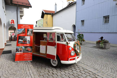 GERMANY, BAVARIA, WAGING AM SEE - SEPTEMBER 22, 2019: The red and white VW bus