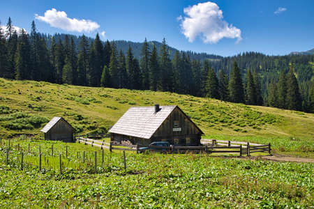 AUSTRIA, STYRIA, GESÄUSE NATIONAL PARK - JULY 30, 2020: The Huberalm in the mountains of the Gesäuse National Park. Editorial