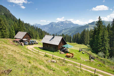 AUSTRIA, STYRIA, GESÄUSE NATIONAL PARK - JULY 30, 2020: The Neuburgalm in the mountains of the Gesäuse National Park.
