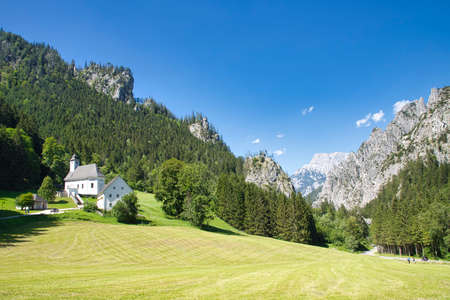 AUSTRIA, STYRIA, JOHNSBACH - AUGUST 01, 2020: Church of the cemetery for mountaineers in the Johnsbach valley in Austria. Editorial