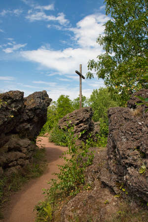 Hiking path to the summit cross of the Windsborn volcano in Rhineland-Palatinate, Germany