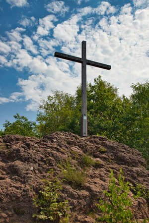 Summit cross of the Windsborn volcano in Rhineland-Palatinate, Germany