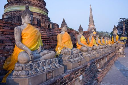 statues of Buddha at watyaichaimongkol in Thailand photo