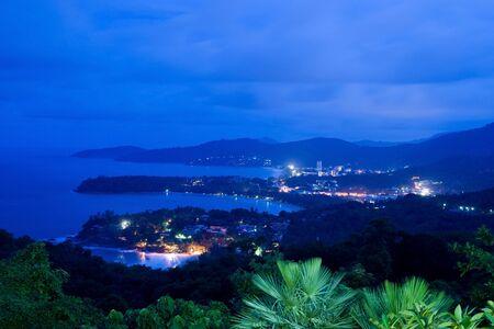Patong Beach on the night in Phuket,Thailand photo