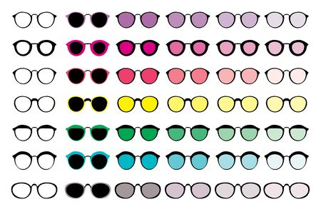 A large selection of glasses of different shapes and colors, suitable for composing your characters, for 2D animation.
