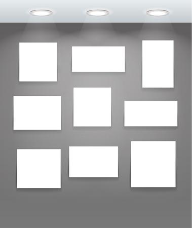 White illuminated boards on grey wall Stock Vector - 11195736