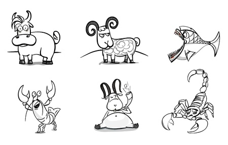 Hand-drawn animals set Vector
