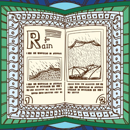 spell: Ornamented magic book with page of rain